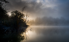 Misty Morn (jeanmarie (been working lots of overtime)) Tags: jeanmarieshelton jeanmarie longeposure mist morning light landscape water waterscape lake cottagelake sky sunlight sunrise serene reflections clouds nikon nature nikond810 fog fall autumn