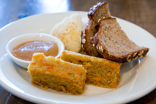 Carrot bread, multigrain bread, biscuits, and apple butter, LIC Market