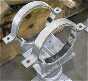"Custom Elevated Pipe Shoe-Clamp Designed for a 12"" Diameter Transfer Line in a Polymer Plant"
