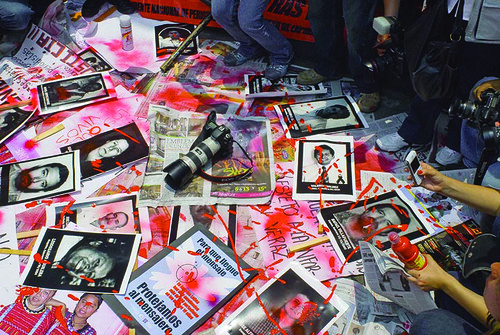 Journalists Protest against rising violence during march in Mexi