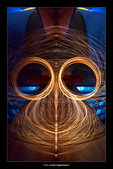 Monkey's Headache (iPh4n70M) Tags: wood light portrait paris france reflection tower water architecture night dark circle de fire photography monkey tokyo photo chains nikon eau iron photographer photographie tour place mask walk lumière flames eiffel bolas fisheye reflet sombre photograph poi homer photowalk palais fuego nikkor bp fusion sparks 16mm spark liquid nuit simpson nocturne fury ballade feu parisian fer masque cercle paille singe balade laine étincelles photographe flammes parisienne parisien chaînes nohdr limaille d700