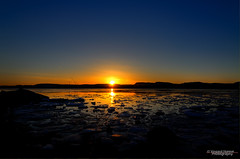 Sunset on the beach (Usstan) Tags: blue sunset sea orange reflection ice water oslo norway norge nikon fjord hdr bygdy huk 1685mm d7000