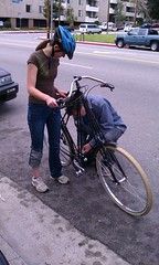 Pedal install on Spring 2011 Pedersen at Flying Pigeon LA bike shop (ubrayj02) Tags: bike bicycle la flying losangeles los angeles pigeon bikes delta bicycles cruiser schwalbe shimano pedersen flyingpigeon nexus8 flyingpigeonla flyingpigeonlacom