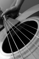 (ii) Day 147 - string fling (can't stop the beek) Tags: portrait blackandwhite bw face lines pattern hand arm guitar finger acoustic strings 365 creativeself