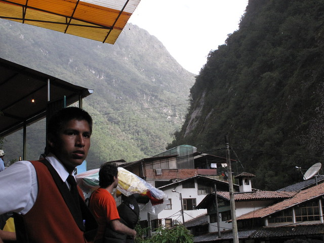 'Ogiert' the waiter at Hotsprings in aguas calientes, Peru