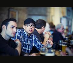 Engrossed In Conversation (Calvin J.) Tags: portrait irish cinema toronto color vintage photo pub nikon walks cross bokeh candid retro brewery processing nik nikkor cinematography cinematic duggans efex 85mmf14g d700 topwcs