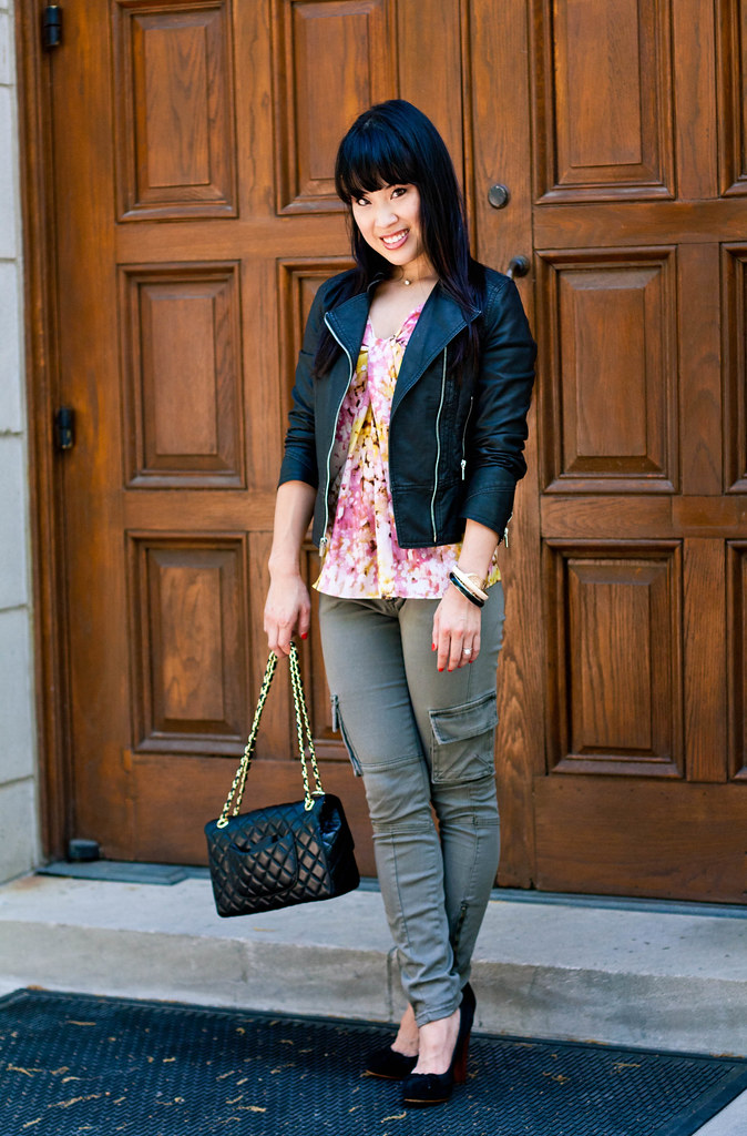 express moto jacket loft abstract print tee forever 21 cargo skinny pants aldo black suede pumps chanel m/l classic flap purse