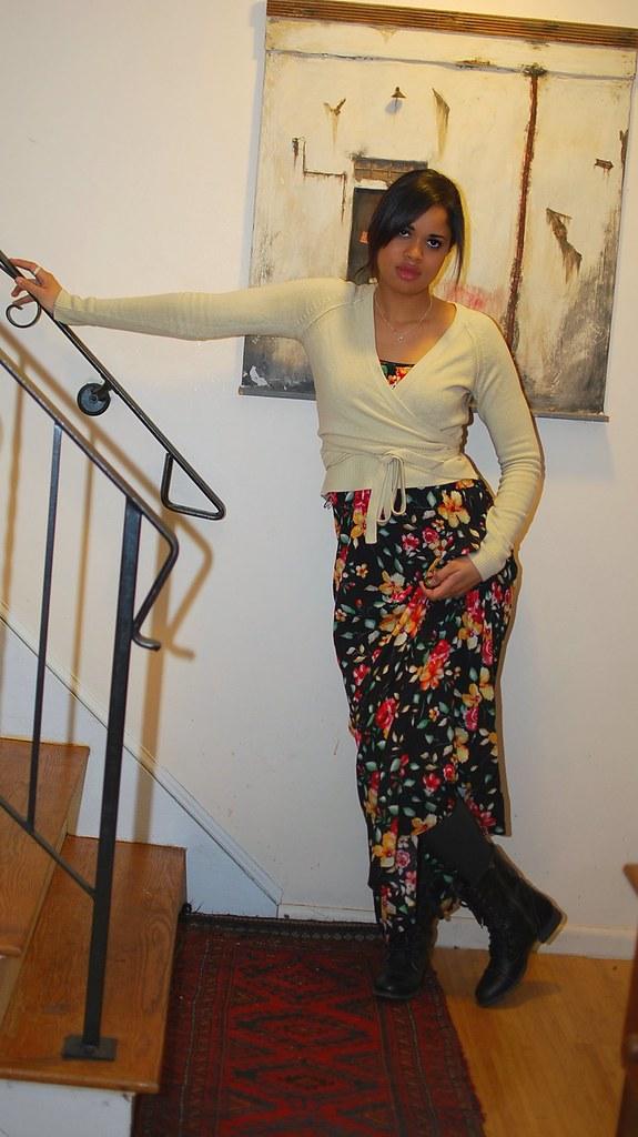 floral dress forever21 steve madden combat boots