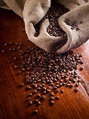 Beans (StephenCaissiePhoto) Tags: wood brown coffee beans sack caffeine spilled burlap barnboard strobist