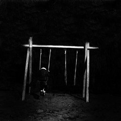Loneliness of a childhood. (Massimo Margagnoni) Tags: world portrait people blackandwhite bw italy white black art 6x6 analog person solitude alone photographer tmax hasselblad 500 minimalism tmax400 minimalismo nero biancoenero massimo gioco mondo bambino 500cm altalena hasselblad500cm analogico infanzia naturepoetry artlibres absoluteblackandwhite rubyphotographer bestcapturesaoi margagnoni