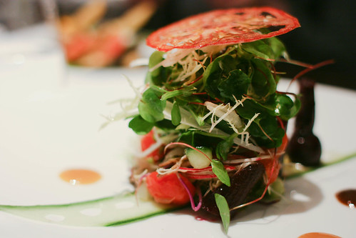 Salad of vegetables, orange miso and toasted seeds
