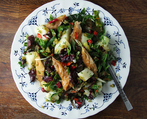 Smoked Mackerel, Potato & Baby Chard Salad with Pickled Cucumbers