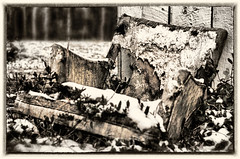 Forgotten (jeffsmallwood) Tags: old blackandwhite snow abandoned broken farmhouse chair decay maryland hdr lefttotheelements