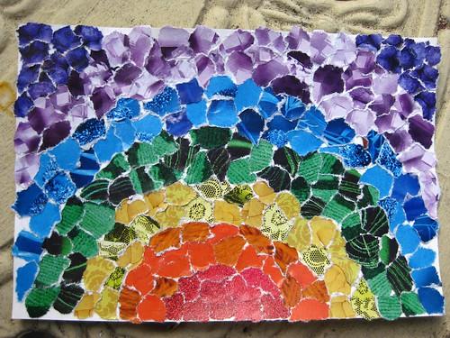 handmade postcard - rainbow