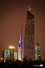 Al Hamra Tower (Shahbaz Hussain's Photography) Tags: city light sky brown white black color tower art love colors night buildings dark lens lights photo al nice nikon focus with view image royal arab falcon shutter kuwait q8 highest hussain alkoot hamra shahbaz d5000 dblringexcellence musictomyeyeslevel1