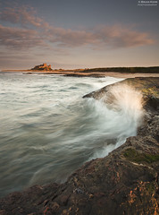 Motion Capture (.Brian Kerr Photography.) Tags: pink light sunset shadow sea sky seascape castle beach water clouds canon landscape coast rocks motioncapture northumberland coastal coastline bamburgh eos5dmkii briankerrphotography