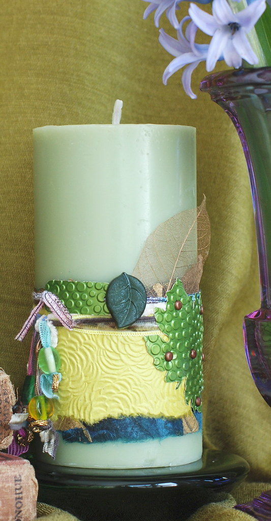 Decorated Candle - Sage Green