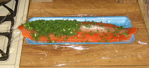 Gravlax in progress, all toppings consolidated before folding