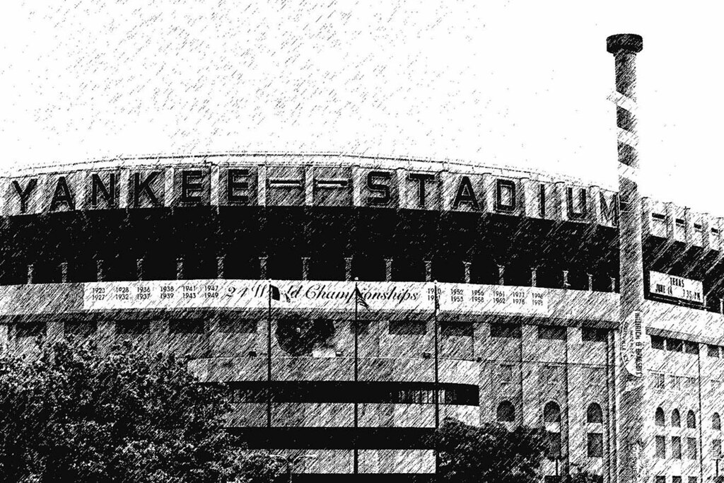 Original Yankee Stadium -  Photographed And Converted to Sketch -