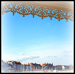 Weymouth Seafront (ttamzz) Tags: uk blue red sea summer england lighthouse white holiday southwest beautiful easter pier chains seaside spring walk postcard south sunny bluesky april softfocus barrier railing weymouth picnik edit idealic portlandbill easterholidays southwell jurassiccoast 2011