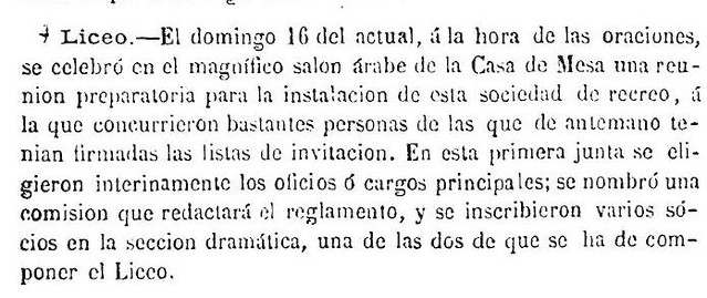 Noticia de la reunión del Liceo de Toledo en la Casa de Mesa el día 16 de diciembre del 1866 publicada en el diario El Tajo Liceo publicado el dia 20