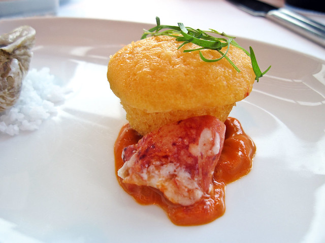 Poached Lobster with red pepper and cornmeal muffin