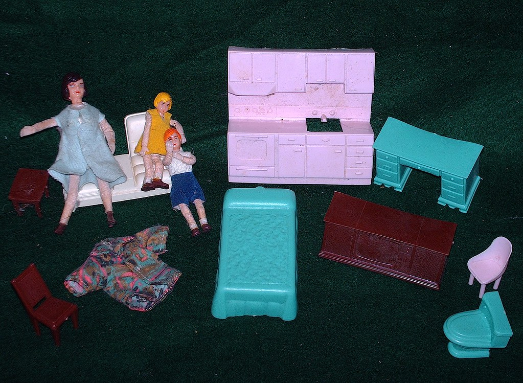 Old Doll House Furniture and Dolls