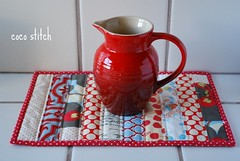 mini quilt - red/cream (coco stitch) Tags: red white kitchen quilt small cream mini coaster mugrug