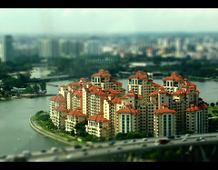 Costa Rhu, Singapore (prashkan) Tags: skyline river photography singapore apartment shift capsule aerial tilt singapura kallang benjaminshearesbridge majulah costarhu singaporeflyer rhucross