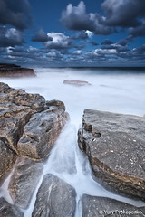 Night Seascape (-yury-) Tags: ocean longexposure sea moon beach night clouds landscape rocks sydney wave australia nsw maroubra seascap