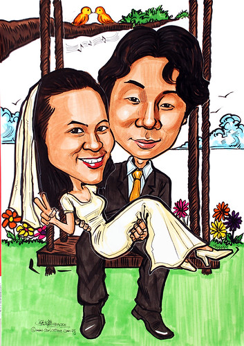 wedding couple caricatures on swing