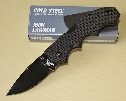 "Cold Steel Mini Lawman Folding Knife 2-1/2"" Blade, G10 Handles"