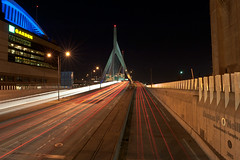 Leonard P. Zakim Bunker Hill Memorial Bridge #2 (Huang, Andrew) Tags: longexposure night ma trails wideangle us1 i93 leonardpzakimbunkerhillmemorialbridge tdgarden greaterboston charlestownmassachusetts lennyzakim nikond700 nikkor2470mmf28 thomasponeill
