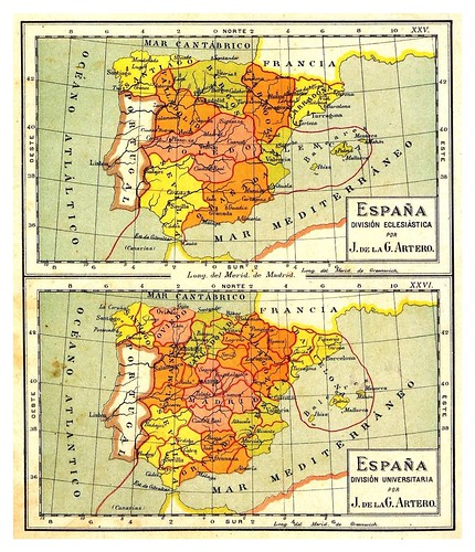 007- España divisones Eclesiasticas y Universitarias-Atlas De Geografía- Astronómica, Física, Política Y Descriptiva 1908- Juan G. Artero