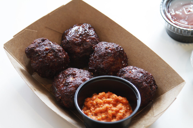 Meatballs with Romesco sauce.