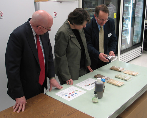 Michigan State University Professor Dr. Bruce Dale (right) display samples of treated cellulosic ethanol materials to Agriculture Deputy Secretary Kathleen Merrigan (center) and USDA Rural Development State Director for Michigan James J. Turner.