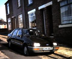 1982 Ford Sierra 1.6L at Montagu Street, Mexborough early 1980s (Spottedlaurel) Tags: ford sierra mexborough montagustreet