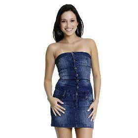 fotos de vestidos tomara que caia jeans