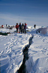 Crack Through camp at North Pole (Weber Arctic Expeditions) Tags: ice richard misha weber northpole frostbite arcticocean polarexpedition malakhov wardhuntisland fischerskis polarbridge polartraining capearkticheskiy dimitrishparo shparo