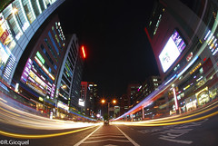 Gangnam street (Seoul) (renan4) Tags: road street city travel blue sky urban reflection building tower cars modern night way landscape lights evening nikon asia cityscape view angle south wide korea hour seoul nikkor renan gangnam    gicquel d80 fisheye10 renan4