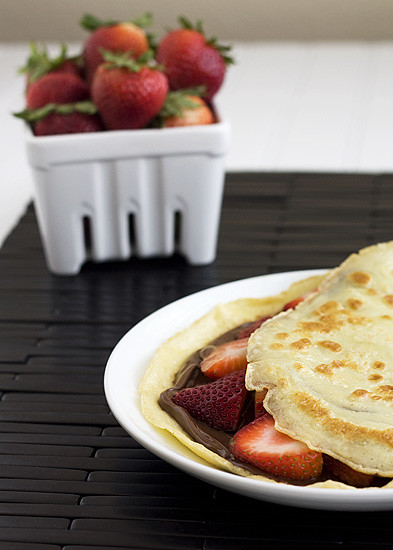 Sweet Crepes with Nutella & Strawberries