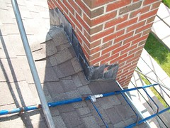 Chimney Lead Flashing into Shingle (GF Sprague) Tags: chimney boston ma belmont cap flashing brookline newton rebuild weston repairs repoint