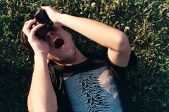 (whachadoin) Tags: color film grass analog tshirt joydivision praktica matías