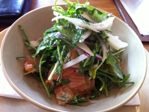 smoked salmon, radish, red onion, watercress, rocket and mixed salad with creme fraiche dressing