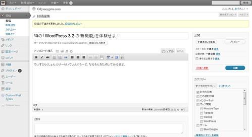 WP3.2 の投稿編集画面