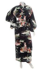 Ukiyoe Black Silk Kimono (The Japanese Shop) Tags: blackkimono blacksilkkimono blackcolourkimono