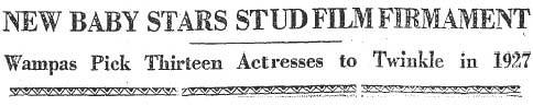 wampas 1927 headline