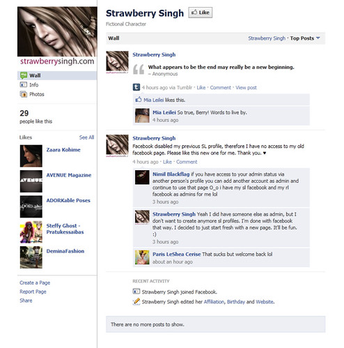Strawberry Singh's Facebook Page