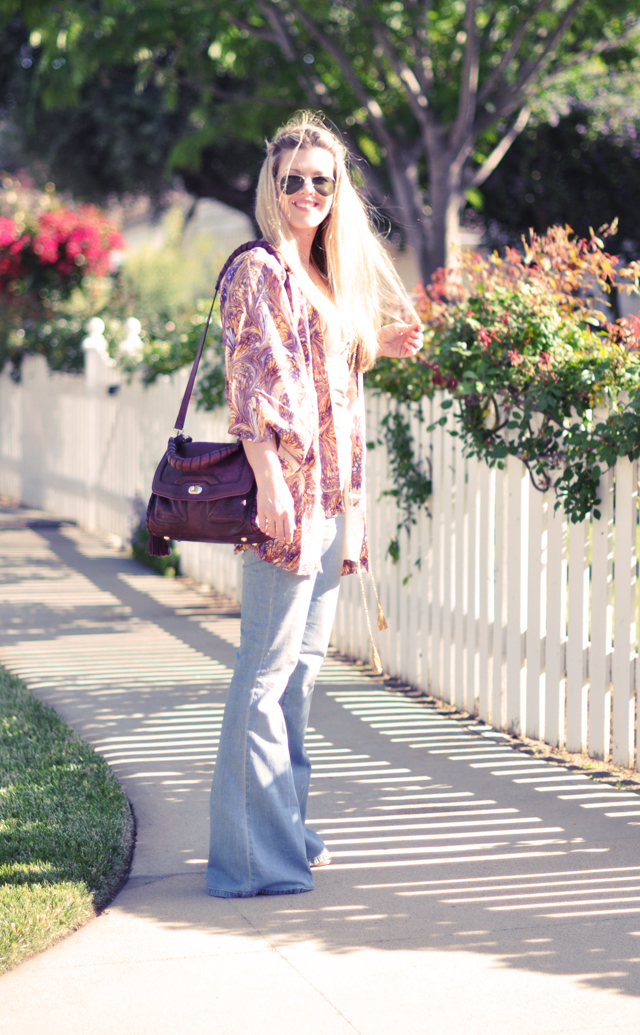 bohemian look  + california + 70's  + flared jeans + winter kate jacket