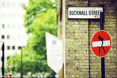 Bucknall Street (Rick Nunn) Tags: street tree london sign sticker bokeh rick stop noentry nunn canonef135mmf2l